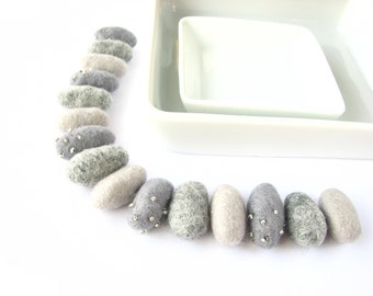 SALE 15 felted wool pebbles beads //plain and decorated with seed beads // shades of grey //  Felt pebbles, felt stones, garland diy