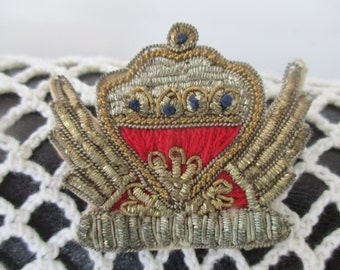 Antique  Goldwork Hand  Embroidery Fiber Brooch sIGNED Colors Silver Gold Red Blue