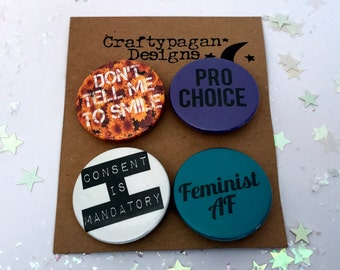 Feminist AF Pin Badges Pack of 4/ International Women's Day Pins/ Don't Tell Me To Smile Button Badges/ Feminist Gift Set/ Alternative Valen