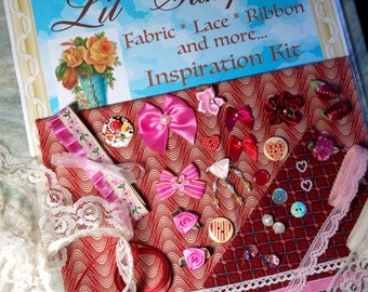 Lil' Sampler Fabric Ribbon Lace Bows  Doll Clothes Sewing Crafts  Inspiration Kit Fabric Sewing Supplies Victorian