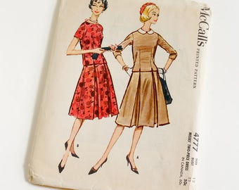 Vintage 1950s Womens Size 12 Two Piece Dress McCalls Sewing Pattern 4777 Complete / b32 w25 / Chemise Style Overblouse Inverted Pleat Skirt