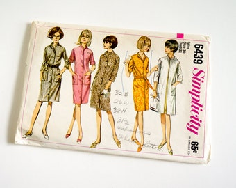 Vintage 1960s Womens Size 10 Housecoat Shirt Dress Coat-Dress or Unlined Coat Simplicity Sewing Pattern 6439 Complete / bust 31 waist 24