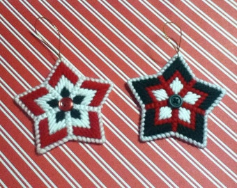 2 Handmade Christmas Star Ornaments Plastic Canvas