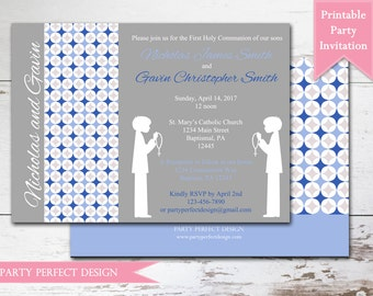 Blue and Gray Boy Twins First Communion invitation Announcement  with optional thank you card- Print Your Own