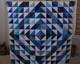 Scrappy Blue HST Quilt