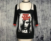 Night of the Living Dead Women's T-Shirt // Size Small // Reconstructed T-Shirt // Three Quarter Sleeve Top // Zombie Horror Gothic
