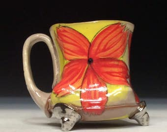 Red flower love mug with rutile slip and white gold luster feet