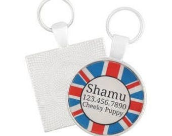 Union Jack British Custom Personalized Dog ID Pet Tag Custom Pet Tag You Choose Tag Size & Colors