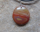 Unique Agate pendant necklace - orange, yellow gem stone jewelry, naturally sourced in Australia.