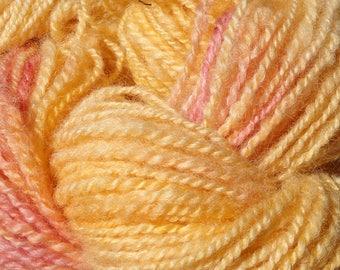 Hand Spun Wool Yarn Peach with a Dash of Mango 98 yards