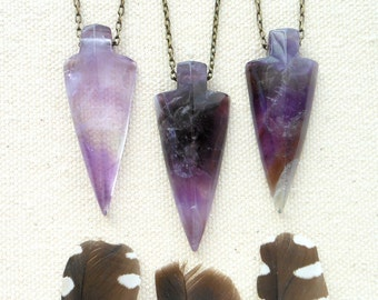 Amethyst arrowhead necklace boho crystal necklace crystal arrowhead gemstone arrowhead native inspired bohemian jewelry