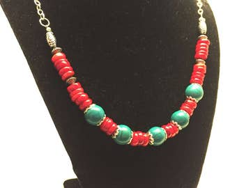 The Sojourner Necklace - Turquoise Red and Silver