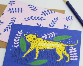 Congrats Cheetah Card, Congrats Card, Celebration Card, Blank Cheetah Card, Cheetah Card, Best Wishes Card