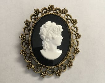 Vintage Black and White Plastic Cameo Pin 1970s
