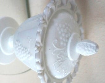 Vintage Milk Glass Compote Westmoreland Covered Bowl Paneled Harvest Grape Wedding Décor