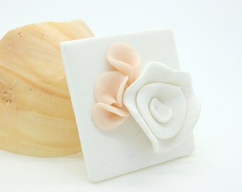 pink flower buds and white flower on white background polymer clay brooch