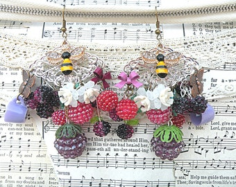 raspberry blackberry earrings assemblage cottage chic summer berry bee fruit recycled vintage jewelry