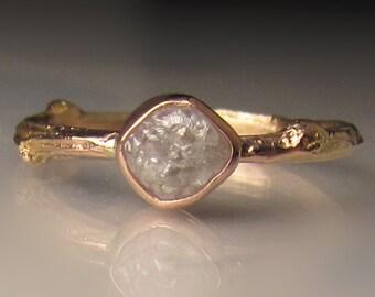 Raw Diamond Engagement Ring, 14k Rose Gold Diamond Twig Ring, Raw Diamond Ring, Twig Engagement Ring