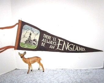 Vintage Pennant, WWII There Will Always Be An England, World War Patriotic Souvenir, Battleship, British Navy, felt, History Museum Display