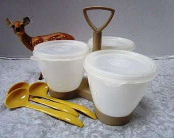 Vintage Tupperware Condiment Caddy Complete 10 Piece Set w/ Spoons Lifetime Guarantee, Retro Potluck Summer Picnic, Almond Gold, Unbreakable