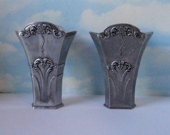 Vintage Art Deco  Pewter Vases. Set of 2