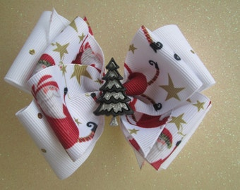 Christmas Double Boutique Hair Bow , White with Red and Gold Christmas Bow, Toddler Hair Bow, Christmas Tree Hair Bow,