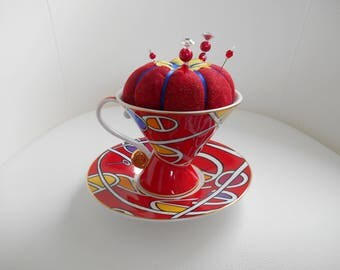 Tea Cup Pin Cushion, sewing accessory, gift for mum, dressmaker, Quilter, includes embellished pins.
