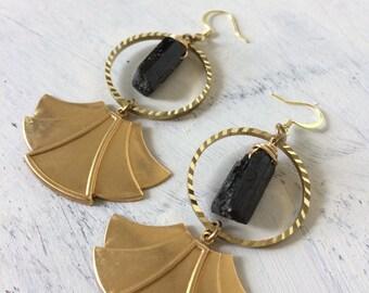 Black tourmaline art deco fan hoops