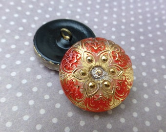 free UK postage - Pack of 2 Czech Handmade Glass Button Red and Yellow Flower