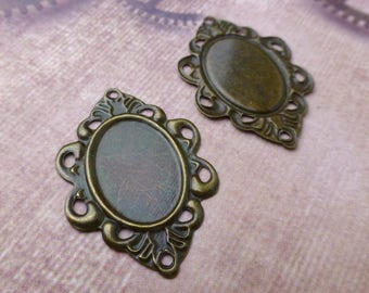 Pack of 30 Antique Bronze Cabochon Thin Setting