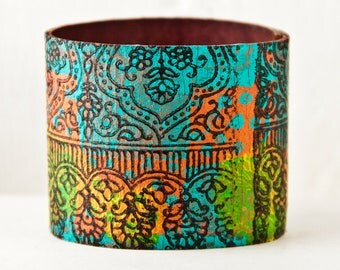 Turquoise Cuff Bracelet - Leather Jewelry for Women - Colorful Multi Color