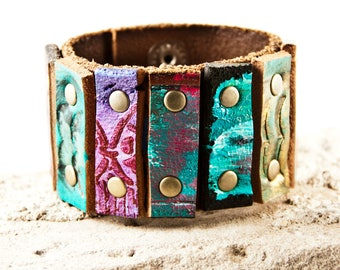 Turquoise Bracelet Leather Jewelry For Women