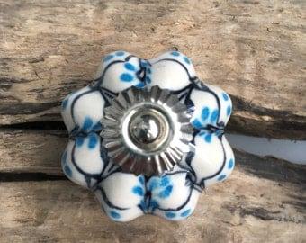 Blue and Black Ceramic Drawer Knobs - Cabinet Knobs Pumpkin (CK76)