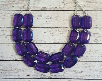 FREE EARRINGS Purple Transparent Chunky Statement Bib Necklace...Purchase 3 or more get 10% off