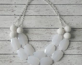White Rhinestone Chunky Statement Bib Necklace...Purchase 3 or more get 10% off