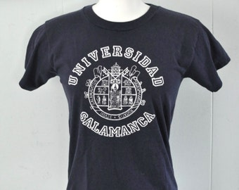 Vintage Tshirt Salamanca University Spain Navy Blue Tee Super Soft and Thin ladies SMALL