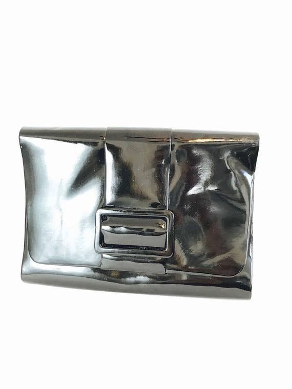 Vintage 1960s Large Snap Clutch Shiny Wet Black Vegan Patent Leather PVC Bag Envelope Baguette Purse Bow Flap Snap Shoulder Strap 60 Handbag