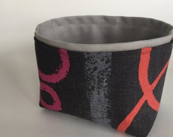 N E W ~ mini fabric storage bin // linen modern print