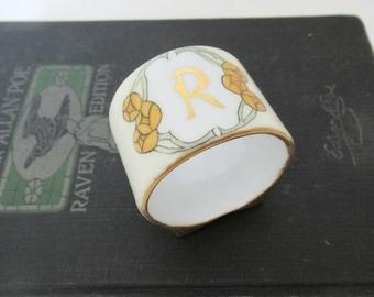 Antique R Monogrammed Napkin Ring, O. & E. G. Royal Austrian Porcelain Napkin Ring Art Nouveau Floral Design
