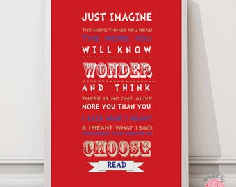 Dr. Seuss Just Imagine wall art quote print