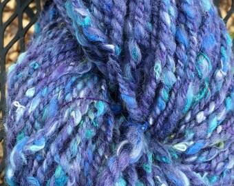 Hand Spun Alpaca Wool Yarn, Two Ply, Worsted Weight, Art Yarn, Lavendar Confetti