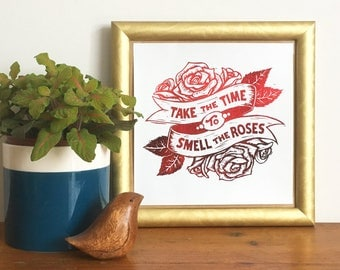 Roses Tattoo Gold Foil Print, (from Linocut) Take the time to smell the roses, Rose art, flower print