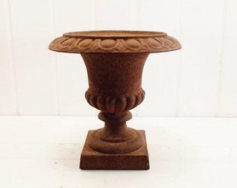 Vintage Cast Iron Urn Classic Large Rusty Garden Urn
