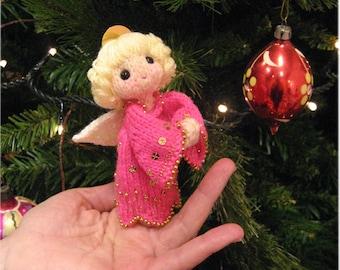 Pink Christmas Angel Finger Puppet