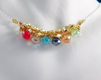 "Marvel Thanos Infinity Gauntlet Inspired Crystal Necklace Beadweaving Sterling Silver -  ""Infinity Stones"""