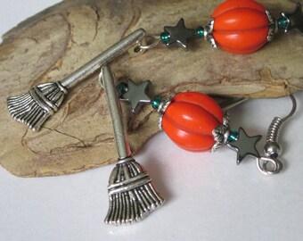 Halloween Dangle Earrings, Witches Broom, Halloween Jewelry, Witch, Pumpkin, Long Dangles