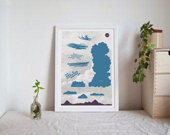 SALE Cloud Chart - double sided A3 poster science infographic clouds weather