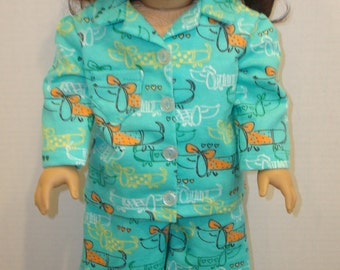 """18 """" doll clothes/Darling Dachshunds/Flannel pajamas and slippers/READY TO SHIP/4piece set fits 18"""" girl doll like American Girl"""