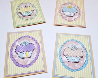 Cupcake Notecards, Kawaii, Spring, Baking, Handcrafted, Cute Cakes, Mini Cards, Pastels, Thank You