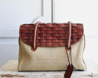 90s vintage woven leather bag Etienne Aignier